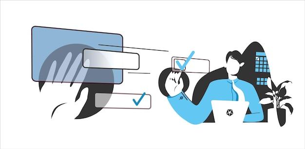 Concetto di delega di distribuzione delle attività ottenere un segno sul completamento dell'attività