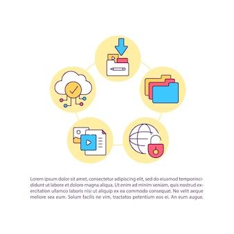 Icone della linea del concetto di trasmissione e distribuzione digitale con testo