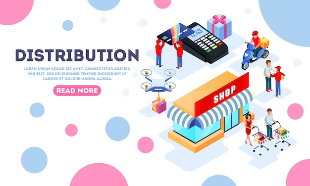 Distribuzione, spedizione, consegna, acquisto modello di landing page con negozio.