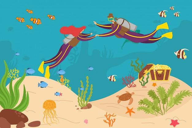 Avventura di immersione subacquea delle coppie dell'operatore subacqueo in mare, illustrazione. ricreazione del fumetto del carattere della donna dell'uomo in oceano, attività acquatica. turismo subacqueo estremamente profondo con attrezzatura subacquea.