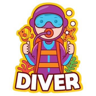 Vettore di logo della mascotte di professione dell'operatore subacqueo nello stile del fumetto