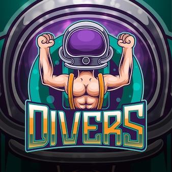 Divers esport mascotte logo design