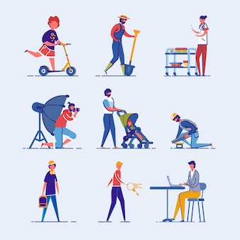 Diversi personaggi dei cartoni animati per adulti e bambini.