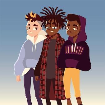 Diversi ragazzi carattere cultura giovanile vestiti alla moda illustrazione