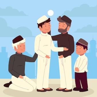 Diversi personaggi dei cartoni animati islam uomini