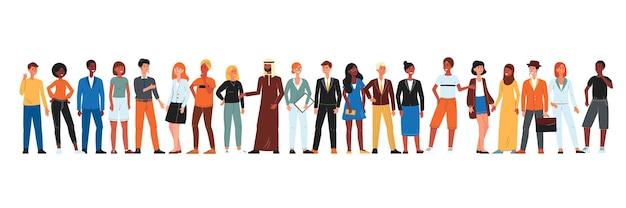 Diversa comunità di persone in fila - gruppo isolato di uomini e donne di cartoni animati provenienti da diversi paesi