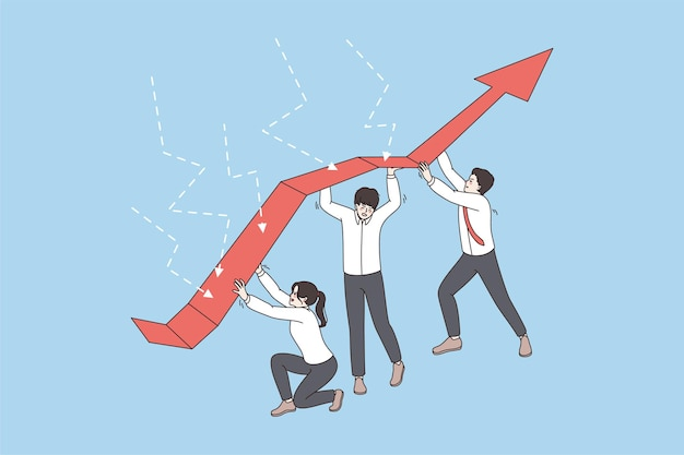 Diversi team di dipendenti mostrano il lavoro di squadra durante la crisi aziendale