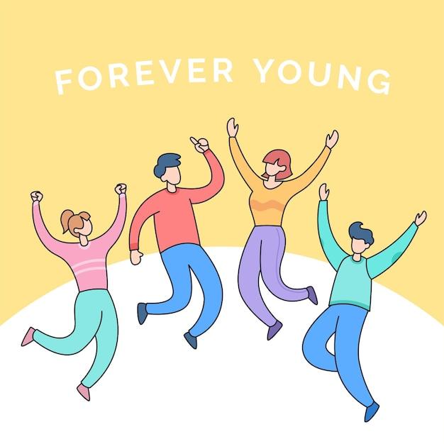 Gruppo di amici diversi di adolescenti per una felice amicizia giovanile per sempre giovane fumetto illustrazione