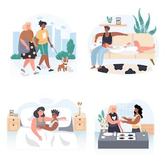 Diverse scene di concetto di coppie lesbiche multirazziali omosessuali impostano l'illustrazione vettoriale dei personaggi