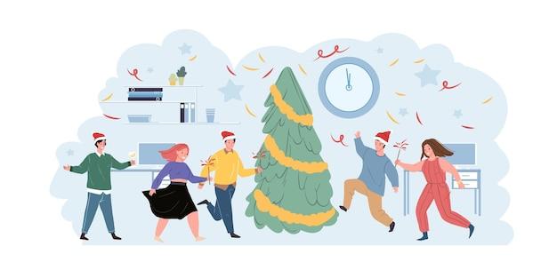 Diversi personaggi dell'ufficio che celebrano le vacanze invernali di natale e felice anno nuovo che ballano intorno a un abete di natale decorato
