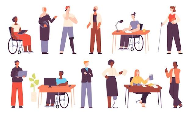 Diverse persone lavorano, lavoratori in ufficio multiculturali o studenti. donna d'affari musulmana. posto di lavoro di inclusione con set di vettori di caratteri disabilitati