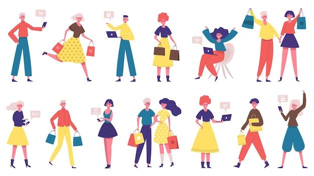 Diverse persone che fanno acquisti. personaggi maschili e femminili dello shopping online, le persone acquistano online e offline