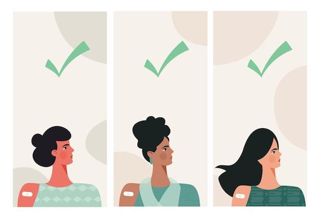 Diverse donne dopo la vaccinazione iniezione di vaccino nella spalla del braccio con spunta verde modello di storia
