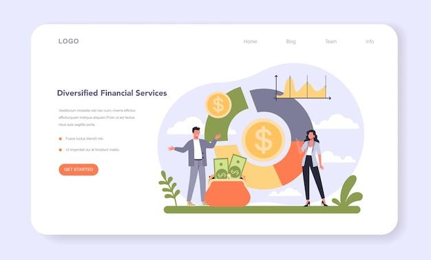 Banner web o pagina di destinazione diversificata del settore finanziario. azienda che fornisce