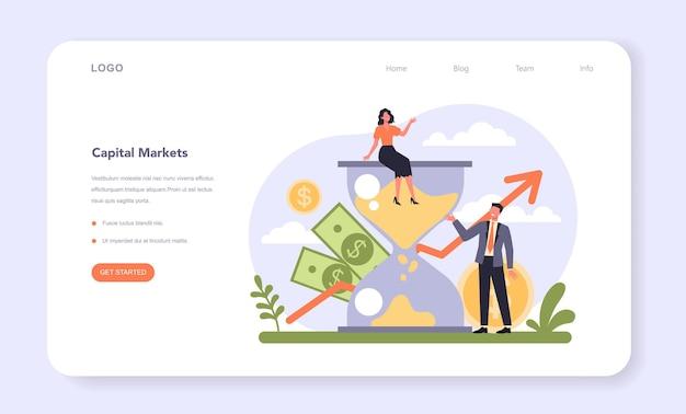 Banner web o pagina di destinazione diversificata del settore finanziario. società finanziaria