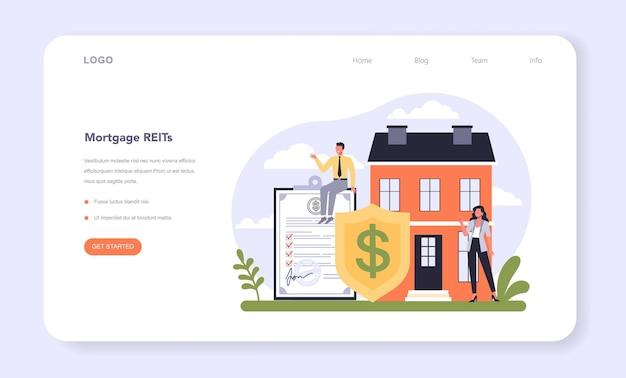 Banner web diversificato del settore finanziario o società finanziaria di landing page
