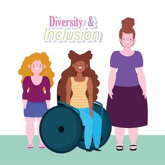 Diversità e inclusione, donna afroamericana su sedia a rotelle e fumetto di donne di bassa statura