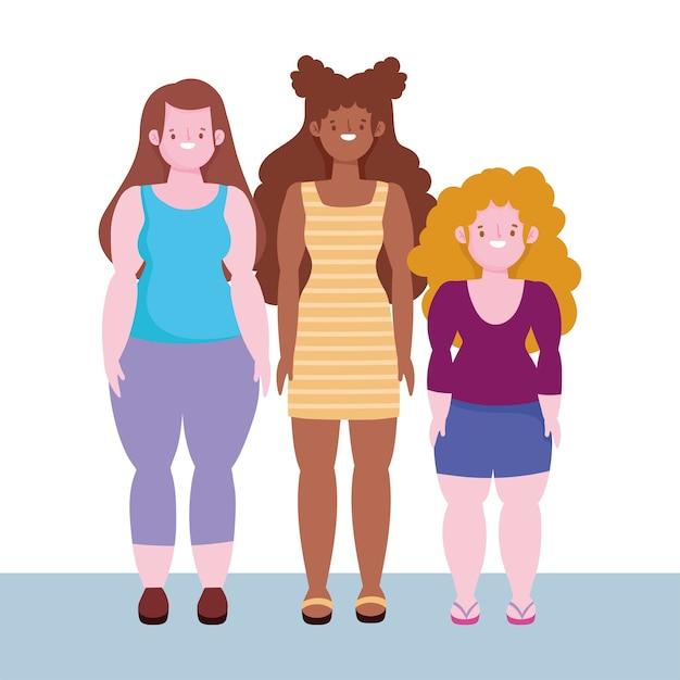 Diversità e inclusione, donne basse, alta statura e donna dal corpo sinuoso