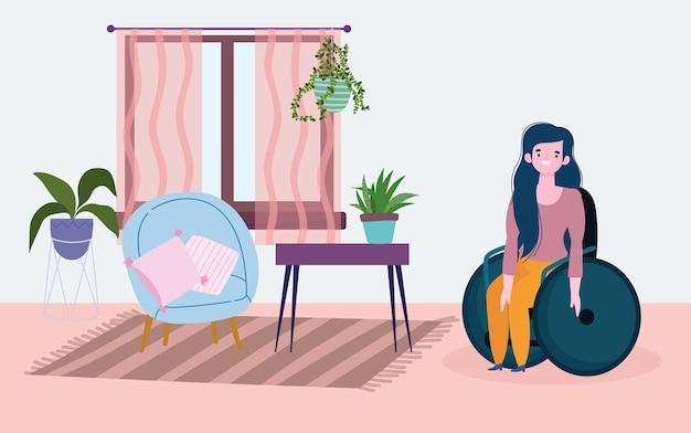 Diversità e inclusione, giovane donna seduta sulla sedia a rotelle in camera
