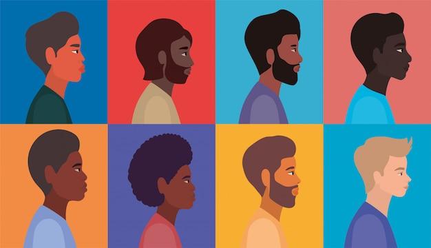 Diversità uomini cartoni animati in cornici multicolori sfondo design, persone razza multietnica e comunità