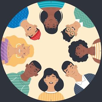 Le persone di diversità si raggruppano attorno ai personaggi