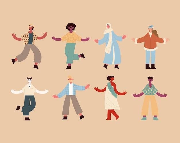 Gruppo di icone di persone di diversità su sfondo arancione