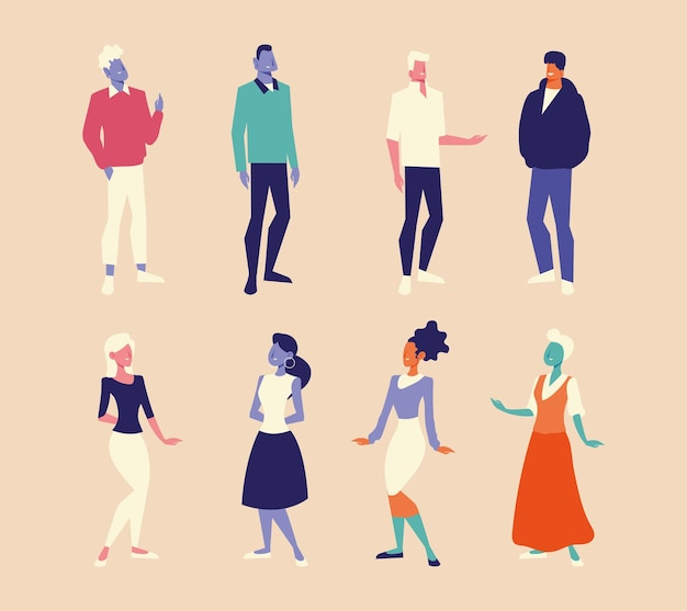 Diversità persone uomini e donne caratteri gruppo design illustrazione vettoriale
