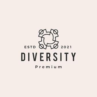 Logo vintage di diversità persone squadra famiglia hipster