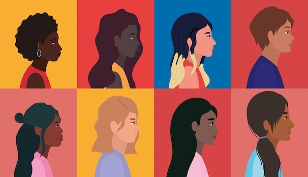 Diversità donne e uomini cartoni animati in cornici multicolori sfondo design, persone razza multietnica e comunità
