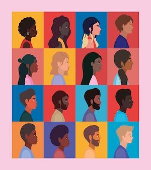 Diversità dei cartoni animati di donne e uomini nel design dei telai, razza multietnica di persone e tema della comunità