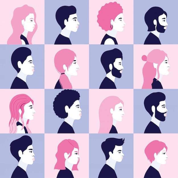Diversità donne e uomini sagome di cartoni animati in vista laterale in blu e rosa cornice sfondo design, persone razza multietnica e tema comunitario