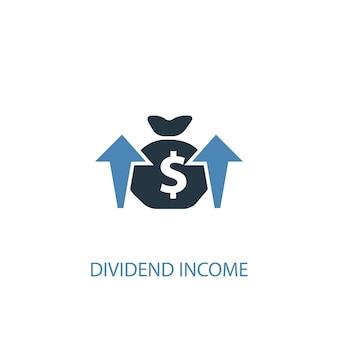 Concetto di reddito da dividendi 2 icona colorata. illustrazione semplice dell'elemento blu. disegno di simbolo di concetto di reddito dividendo. può essere utilizzato per ui/ux mobile e web