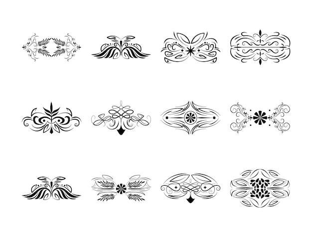 La decorazione del divisore fiorisce l'illustrazione dell'insieme dell'annata dei turbinii