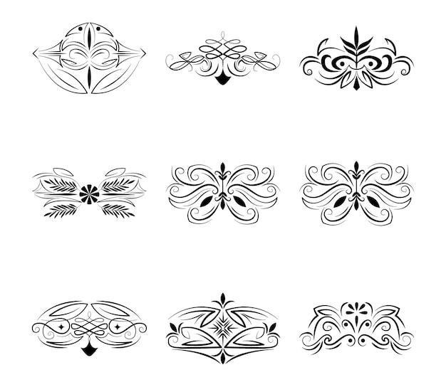 Divisori decorazione classica floreale e ornamentale illustrazione set