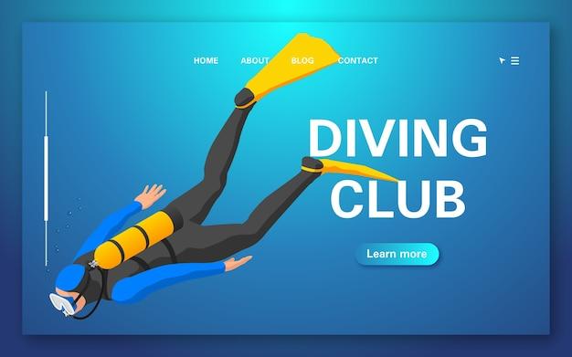 Pagina di destinazione del club di immersioni. operatore subacqueo che galleggia sott'acqua.