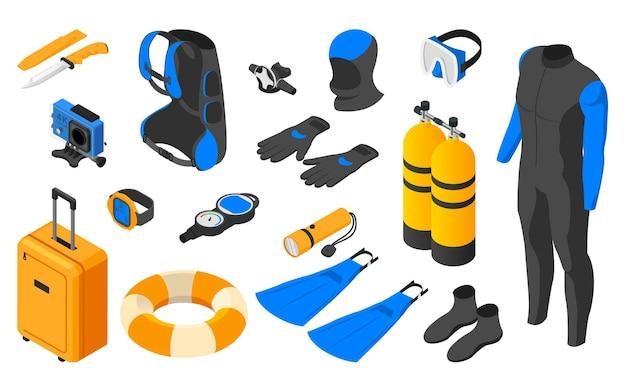 Insieme di elementi di immersione subacquea.