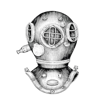 Mano del casco di immersione subacquea che disegna stile d'annata