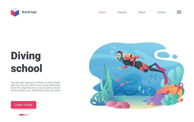 Subacqueo della pagina di destinazione della scuola di immersioni che nuota nel mondo sottomarino lo snorkeling sul fondo del mare.
