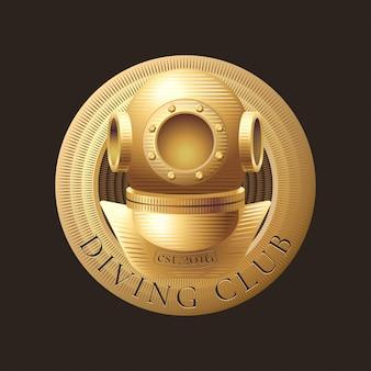 Icona di immersioni e snorkeling, simbolo, emblema, segno, elemento di design. illustrazione di trofeo retrò, vintage muta da sub