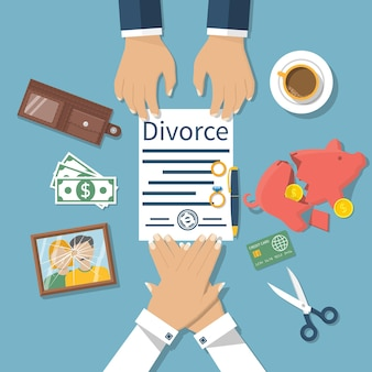 Concetto di divorzio. incontro di marito e moglie per firmare documenti di divorzio accordo. divisione di proprietà.