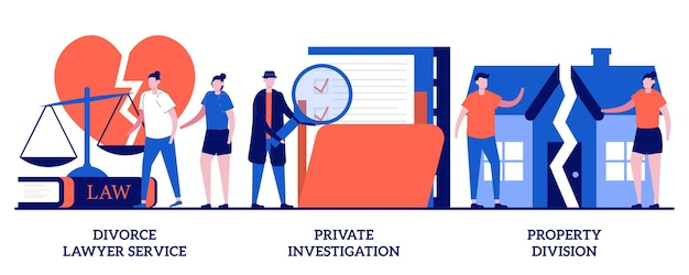 Avvocato divorzista, investigazione privata, concetto di divisione di proprietà con persone minuscole. servizio legale e set investigativo. avvocato di famiglia, agenzia investigativa, metafora della separazione.