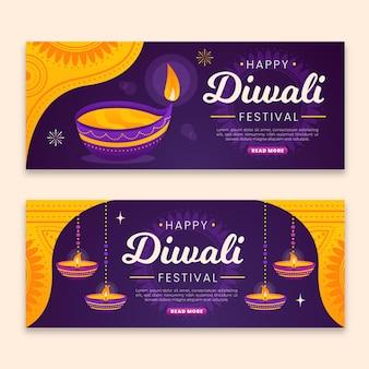 Modello di banner diwali con candele