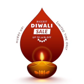 Diwali poster design più grande vendita con offerta di sconto del 50%