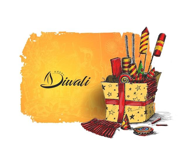 Cracker diwali con confezione regalo, illustrazione vettoriale schizzo disegnato a mano.