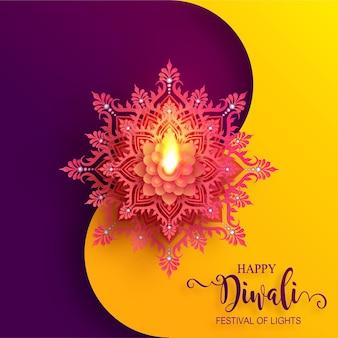 Diwali, deepavali o dipavali il festival delle luci india con oro diya modellato e cristalli su sfondo di colore della carta.