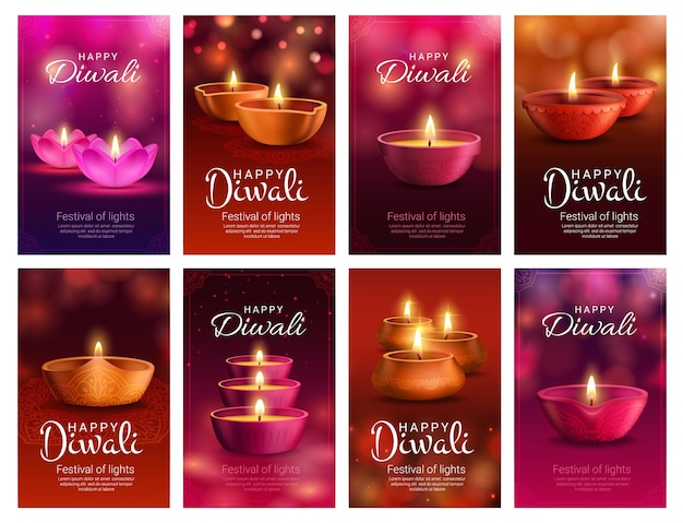 Diwali o deepavali diya lampada del festival della luce indiana e saluto festivo di religione indù. lampade ad olio deepawali, decorate con motivo rangoli, fiori paisley e luci bokeh