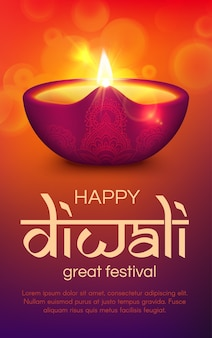 Diwali o deepavali festival indiano della luce. lampada diya di saluto festivo di religione indù, lanterna ad olio con fiamma di fuoco ardente, decorazione rangoli di motivo paisley e ornamento floreale