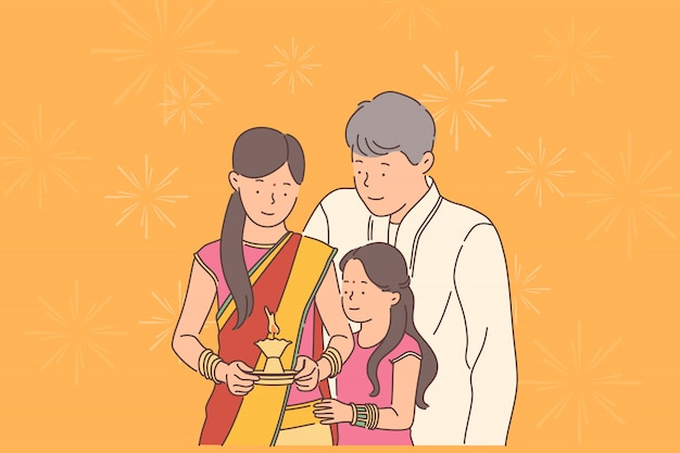 Concetto di festival diwali o deepawali.