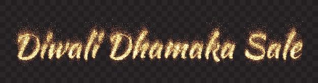 Diwali dhamaka vendita luminose particelle di luccichio dorato banner largo testo su sfondo trasparente