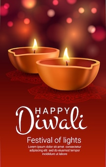 Diwali diya lampade di bandiera indiana festival leggero.